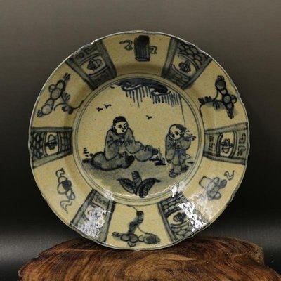 青花瓷人物盤 古董古玩  手工手繪 舊貨收藏