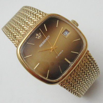 【timekeeper】 70年代瑞士製Regency 17石手鐲式日期顯示機械(大錶徑)(免運)