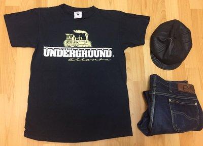 Delta 美國製 二手踢 古著 純棉 M 亞特蘭大 老味 文青款 黑色 Underground  N9