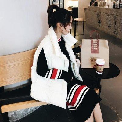 無袖羽絨棉馬甲女秋冬外套2019新款韓版bf立領短款ins面包服坎肩