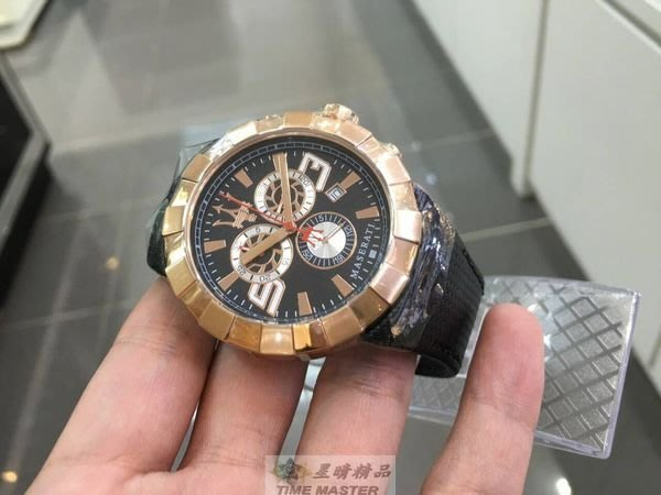 請支持正貨,瑪莎拉蒂手錶MASERATI手錶TRIDENTE款,編號:MA00093,黑色錶面黑色皮革錶帶款