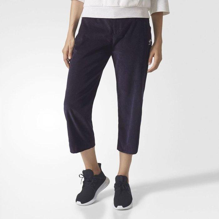 正品 adidas originals 女子 燈芯絨 七/八分褲 寬褲-深藍34 BR5198 原價2980
