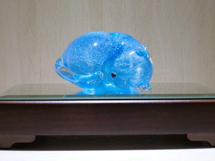 【藝晶香琉璃藝術工坊】手工琉璃夜光睡貓藝術品擺飾擺件家居文創送禮
