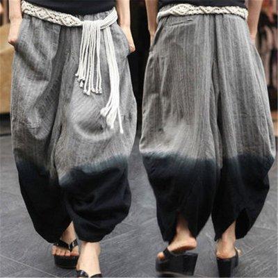 民族風女裝春夏寬鬆燈籠褲女低檔褲鬆緊腰個性時尚休閑亞麻大碼褲