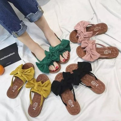 【Miss Caramel】蝴蝶結夾腳拖 人字拖 外出拖鞋 時尚甜美範🎀 女士夾腳拖 夾腳拖 現貨+預購