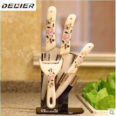 【優上】德利爾陶瓷刀菜刀套裝5件切菜刀 德國廚房刀具削皮刀水果刀「月季花」