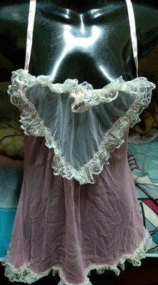 淺粉紅性感情趣薄紗內睡衣