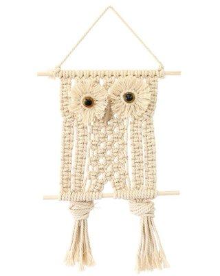 《雪莉工坊 + 友之丘雜貨 + 預購》貓頭鷹造型Macrame 繩結編織流蘇吊飾  掛飾  by 日本鄉村風雜貨