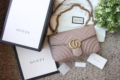 Gucci Marmont GG small 26cm 歐洲限量 奶茶裸色 三用 肩背包 mini 黑色 443497