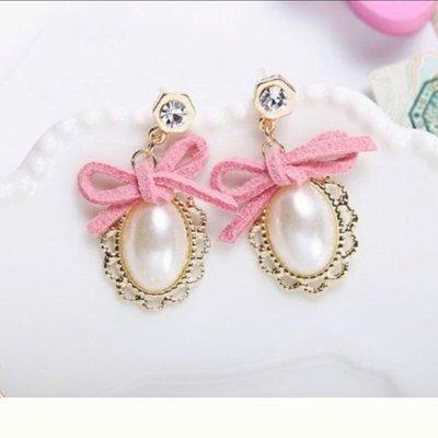 可愛甜美麂皮粉紅蝴蝶結珍珠耳環
