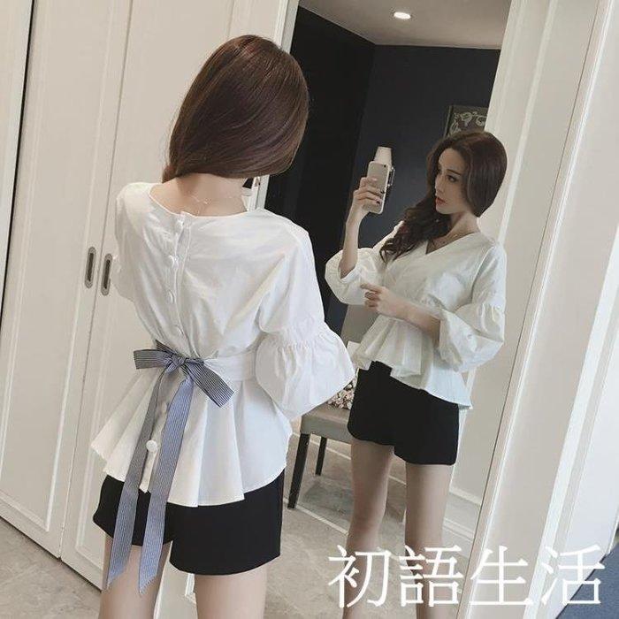 燈籠袖襯衫春裝新款V領收腰長袖襯衫女裝韓版白色襯衣燈籠袖蝴蝶結上衣CYSH1608