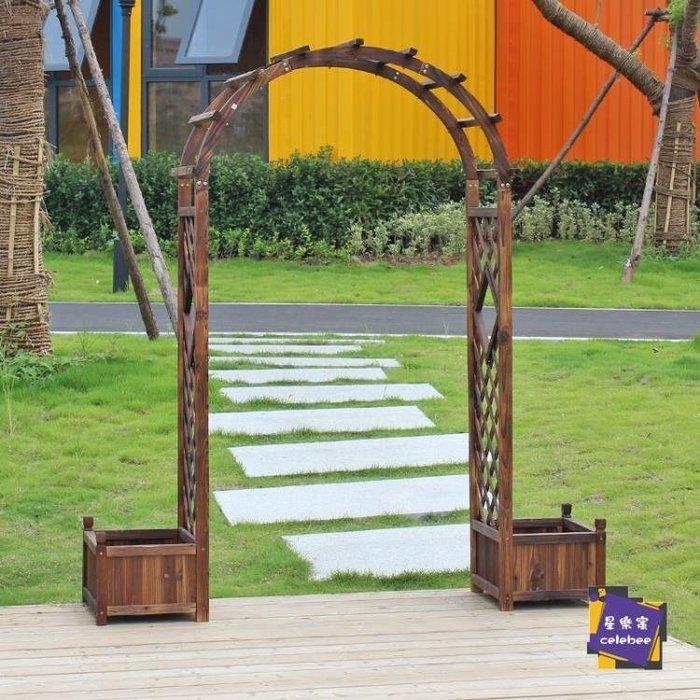 爬藤架 室外拱門爬藤花架防腐木庭院裝飾門花園柵欄圍欄門網格戶外葡萄架