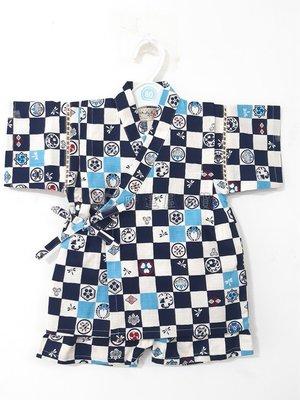 ✪胖達屋日貨✪褲款 80cm 海軍藍 方格 家徽 日本 男 寶寶 兒童 和服 浴衣 甚平 抓周 收涎 攝影