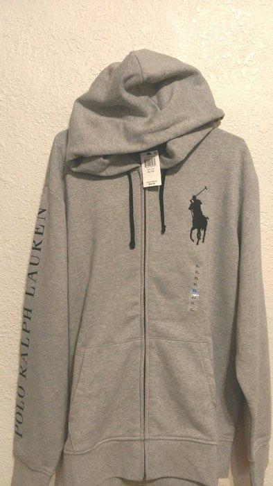Polo  Ralph Lauren 大馬 男性刷棉連帽外套,灰色,尺寸XL,只有1件,棉質超柔軟舒適
