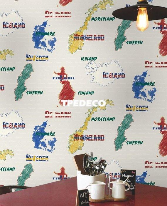 【大台北裝潢】TZ國產現貨壁紙* 北歐國家英文字 冰島丹麥瑞典芬蘭(2色) 每支500元
