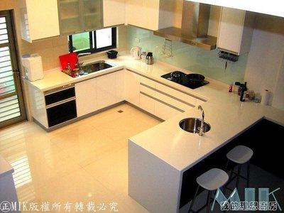 【MIK廚具 直營】現代美學結晶鋼烤㊣中島F型臭氣系統人造石冰箱櫃電器櫃碗櫥高貴不貴