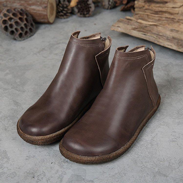 手工頭層牛皮 單鞋 短靴  休閒鞋平底鞋豆豆鞋  單靴