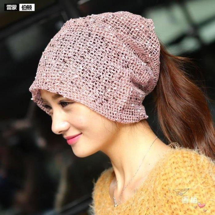 頭巾夏正韓女頭巾帽套頭包頭帽透氣化療帽時尚月子帽子薄款堆堆帽
