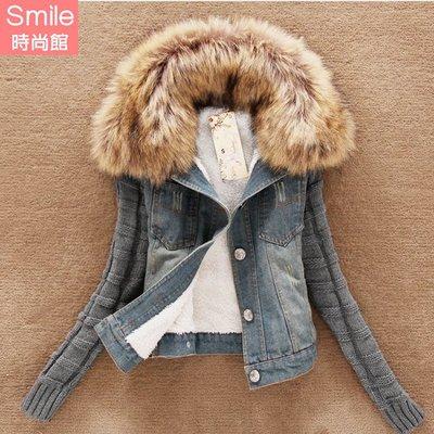 【V3062】SMILE-簡搭風格.毛領拼接袖牛仔外套