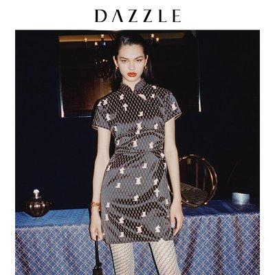貓星人新款DAZZLE地素 春新款老花印花氣質修身旗袍式連衣裙女2D1O4046A