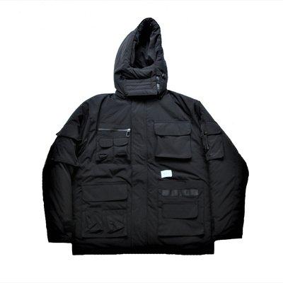 【 PUNX 】PUNX 19AW SPLICE DOWN JACKET / BLACK 多口袋拼接工裝外套