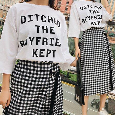 字母T+黑白格紋長裙套裝/兩件套 2色【D927495】