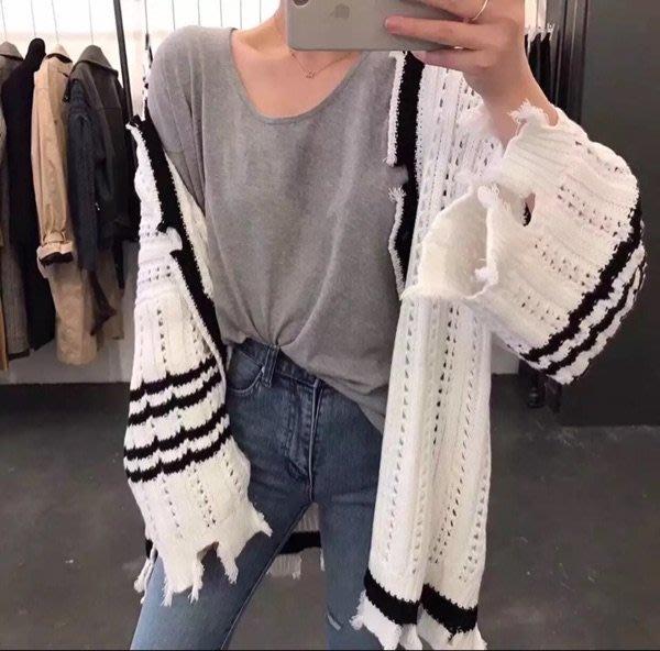 :: 0528 :: 條紋配色縷空破損長版針織外套 慵懶風休閒條紋拼色V領單排釦寬鬆毛衣流
