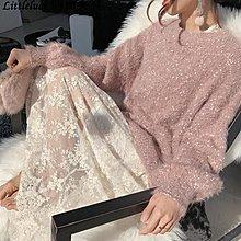 Littleluck~女裝acaine針織衫正韓慵懶風圓領顆粒感很仙的上衣洋氣毛衣女2019新款