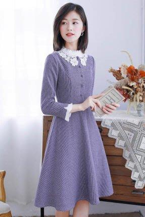 妞妞婚紗禮服~婆婆媽媽紫色小格子復古A字裙修身洋裝連衣裙禮服 ~3件免郵