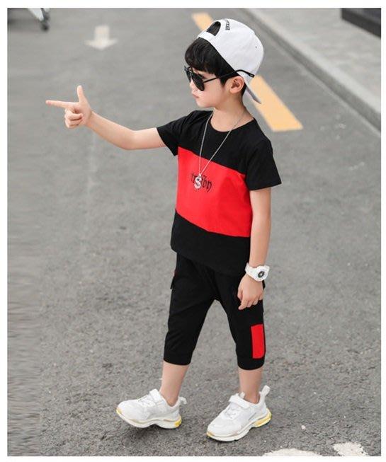 日韓歐美♥夏季 中大男童 韓版個性風 撞色字母 運動風套裝 兩件式  暢銷熱賣款  【E894】