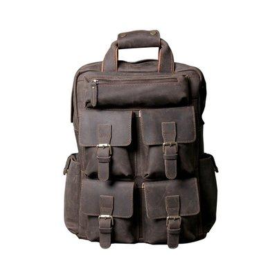後背包真皮雙肩包-大容量多隔層瘋馬牛皮男女包包73vz33[獨家進口][米蘭精品]