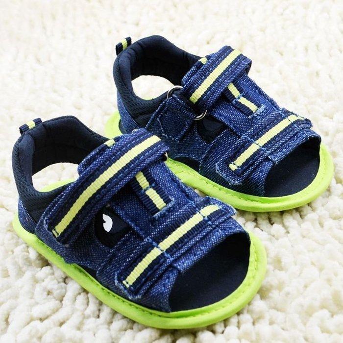 森林寶貝屋~藍色牛仔露趾涼鞋~學步鞋~幼兒鞋~寶寶鞋~娃娃鞋~學走鞋~童鞋~粘扣設計~穿脫方便~彌月送贈禮
