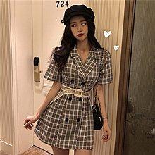 西裝連衣裙女超夯春夏新款韓版氣質雙排扣收腰短裙復古格紋A字裙