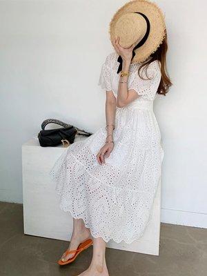 蕾絲緹花長洋裝韓版刺繡流蘇飛飛袖鏤空度假洋裝連身裙(新品)預購