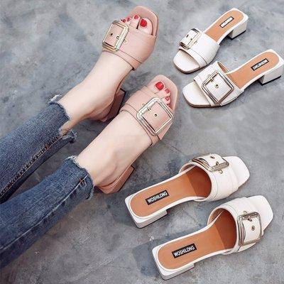 涼鞋 露趾方跟一字拖女夏時尚百搭外穿涼拖低跟方扣半拖鞋尖圓方正韓頭休閒涼拖鞋