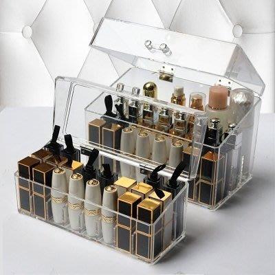 ☜男神閣☞翻蓋防塵式口紅收納盒亞克力整理盒桌面透明化妝盒口紅專用盒