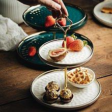 果盤eioo北歐輕奢陶瓷水果盤雙層三層家用過年創意糖果零食甜品干果盤好好先生