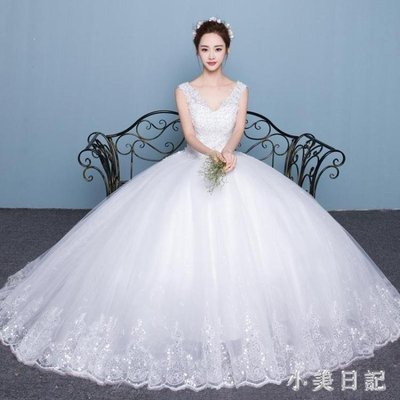 YEAHSHOP 婚紗禮服韓式雙肩V領顯瘦公主大Y185