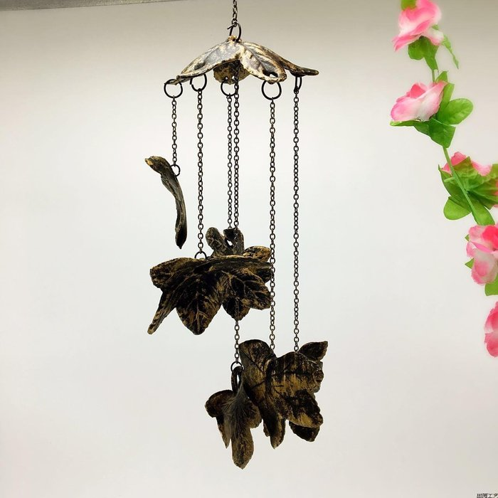 樹葉垂感風鈴 鈴鐺鐵藝南部鑄鐵掛飾 仿古銅色裝飾品家居