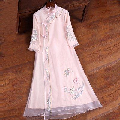 禪服女年新款中國風禪意茶服重工刺繡改良漢服旗袍寬松連衣裙