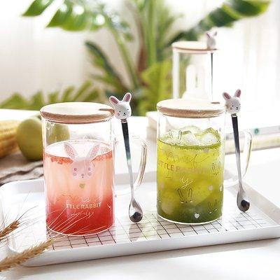 韓版超萌兔子勺玻璃杯帶蓋小清新女生可愛創意潮流家用花茶水杯子馬克杯 冰淇淋杯