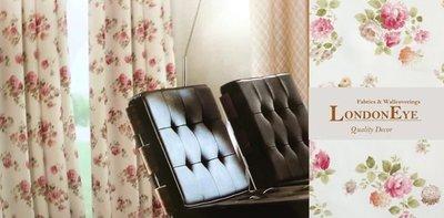 【LondonEYE】英式鄉村風 進口優質無縫布(LCV1224)‧英國浪漫粉紅花朵‧甜美窗簾首選