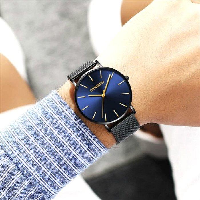 DENGQIN 正品 簡約主義 以簡為美 經典超薄時尚型男石英錶 男錶 米蘭尼斯編織不銹鋼電鍍錶帶 送禮