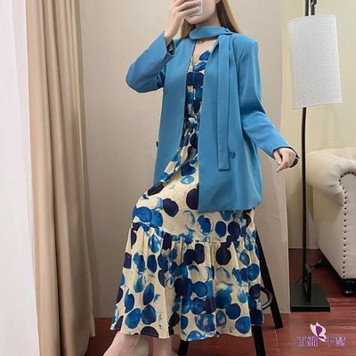 2020秋季新款韓版時髦氣質圍脖西裝外套+印花連衣裙套裝優雅顯瘦【百雅女裝】