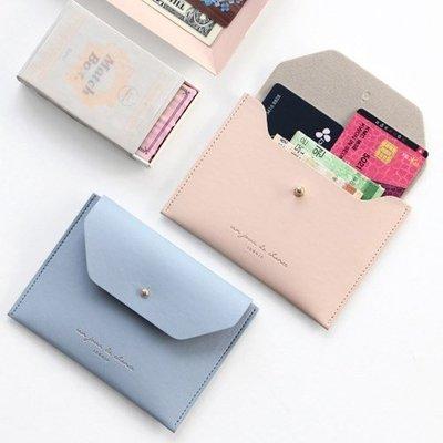 ♀高麗妹♀韓國 ICONIC SLIT TWO POCKET 釘扣式扁扁 短皮夾/鈔票.各式卡片收納包(2色選)預購