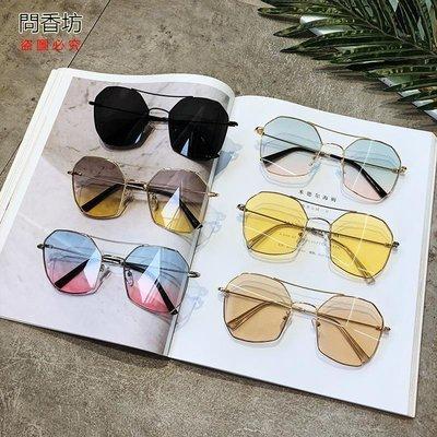 (問香坊)新款太陽眼鏡韓版網紅同款女炫彩復古個性大框度假風沙灘墨鏡