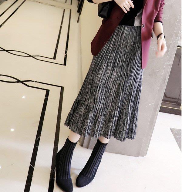 歐單 2020新款 上身有氣場 夾花灰色 細緻純羊毛 舒適鬆緊腰身 風琴壓褶立體針織A字長裙 (G1075)