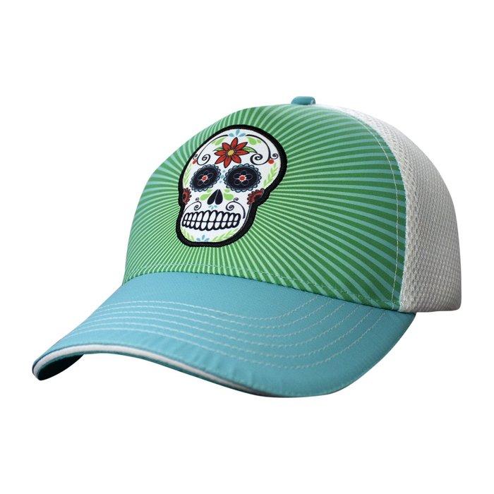 騎跑泳者 - HEADSWEATS 汗淂 (全球運動帽領導品牌) 藍綠底骷髏 5-Panel 網帽 運動帽