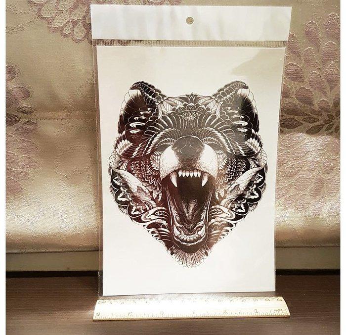 【萌古屋】熊頭手臂大圖 - 男女防水紋身貼紙原宿刺青貼紙K03