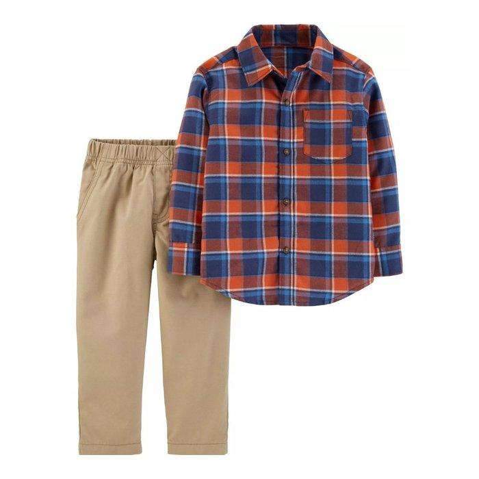 【Carter's】CS男童藍橘長襯卡長褲 F03191003-22